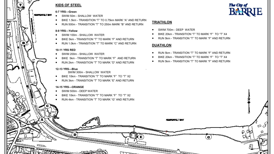 Barrie Triathlon Map
