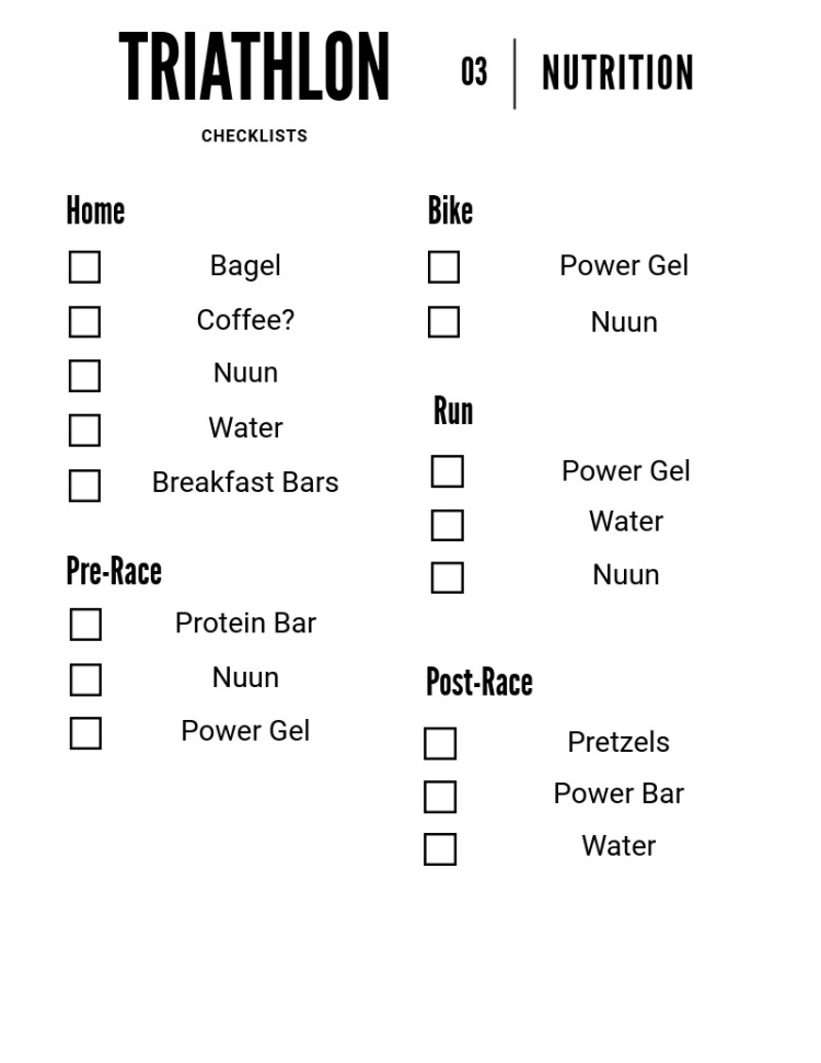 Triathlon Checklist - Nutrition