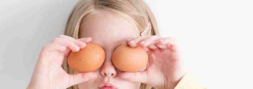 Girl with eggs for eyes